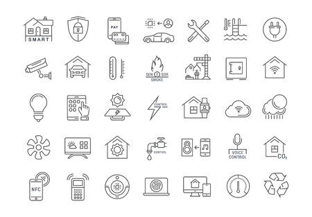 Stellen Sie Vektor Linie Symbole mit offenen Pfad Smart Home, Smart Systems und Technologie mit Elementen für mobile Konzepte und Web-Anwendungen. Collection moderne Infografik und Piktogramm. Standard-Bild - 64314649