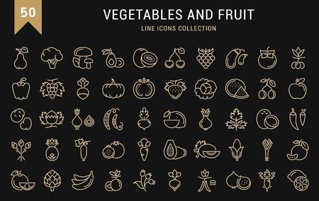 fruit and veg: Set vector line icons in flat design Vegetable, Fruit and Healthy food with elements for mobile concepts and web apps. Collection modern infographic and pictogram. Illustration