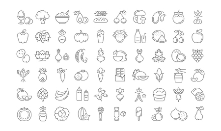 garlic bread: Set vector line icons in flat design Vegetarianism and Vegan with elements for mobile concepts and web apps. Collection modern infographic and pictogram. Illustration