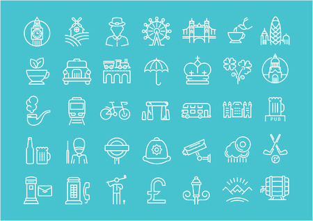 ireland cities: Set vector line icons in flat design United Kingdom, England, Ireland and Scotland with elements for mobile concepts and web apps. Collection modern infographic and pictogram. Illustration