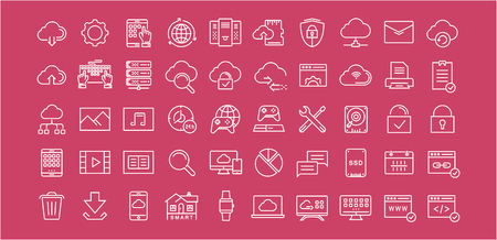syncing: Set vector line icons in flat design with elements cloud computing for mobile concepts and web apps. Collection modern infographic and pictogram.