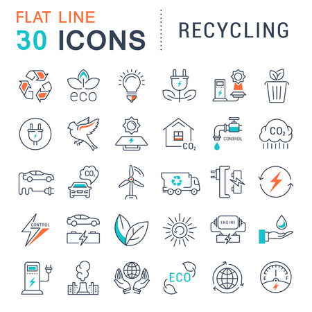 clean energy: Set vector line icons in flat design recycling, eco, bio, clean energy, save water and world with elements for mobile concepts and web apps. Collection modern infographic and pictogram.