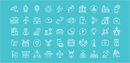 Set vector line icons with open path smart sity and technology with elements for mobile concepts and web apps. Collection modern infographic  and pictogram. Ilustração