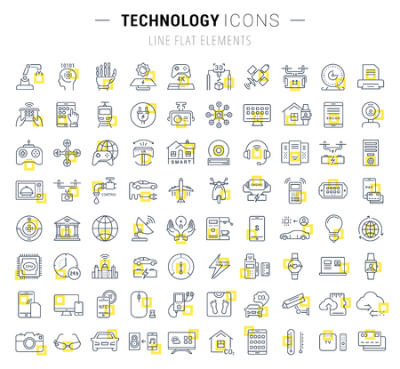 mobile device: Set vector line icons in flat design technology, electric car, smart city, house , internet of things, online payment. Elements for mobile concepts. Collection modern infographic and pictogram.