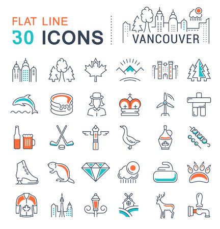 Set vector line icons in flat design Vancouver and Canada with elements for mobile concepts and web apps. Collection modern infographic and pictogram.
