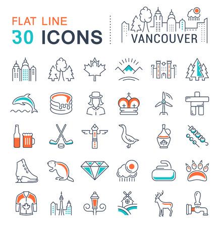 フラット デザイン バンクーバーとカナダの携帯電話の概念と web アプリの要素を持つベクター線のアイコンを設定します。コレクション モダンなインフォ グラフィックとピクトグラム。