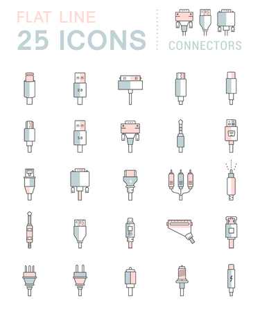 dvi: Electric plug, connectors and jack flat line icons set. Collection Connection technology, connector electric power, mobile devices connect, wire and socket