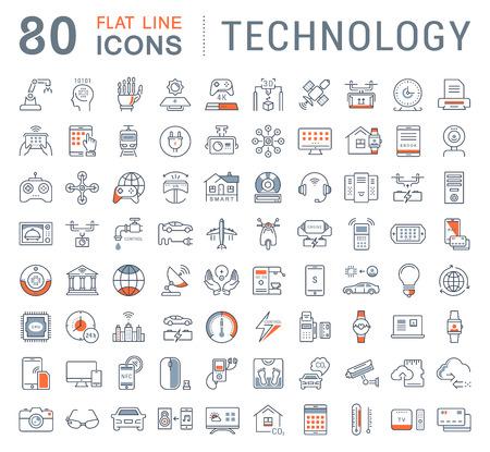 Fije los iconos de la línea en la tecnología de diseño plano, coche eléctrico, la ciudad inteligente, casa, Internet de las cosas, de pago en línea. Elementos para conceptos móviles. Colección infografía moderna y pictograma. Ilustración de vector