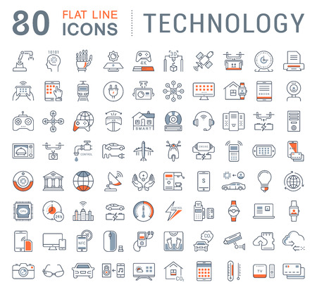 Set line icons in flat design technology, electric car, smart city, house , internet of things, online payment. Elements for mobile concepts. Collection modern infographic and pictogram.