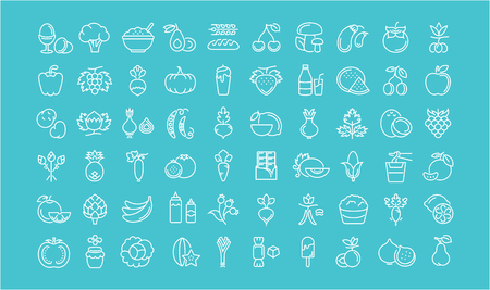 vegetarianism: Set line icons in flat design Vegetarianism and Vegan with elements for mobile concepts and web apps. Collection modern infographic and pictogram.