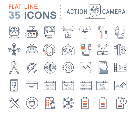Set vector line icons action camera and drone in flat design with elements for mobile concepts and web apps. Collection modern infographic logo and pictogram. Illustration