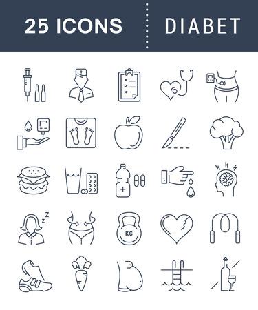 フラット デザイン diabet と携帯電話の概念と web アプリの要素を持つ糖尿病のベクター線のアイコンを設定します。コレクション モダンなインフォ   イラスト・ベクター素材