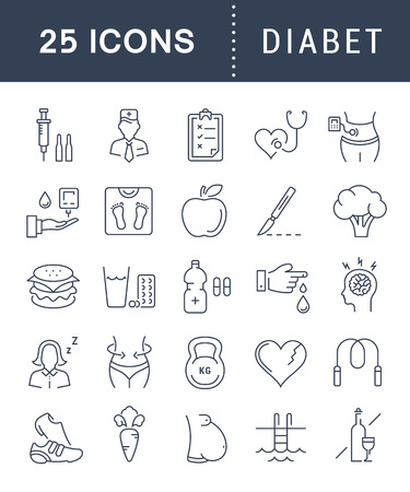diabetes mellitus: Set vector line icons in flat design diabet and diabetes mellitus with elements for mobile concepts and web apps. Collection modern infographic logo and pictogram.