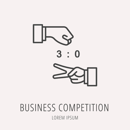 contestant: Logo or label business competition. Line style logotype. Easy to use business competition template. Vector abstract sign or emblem.