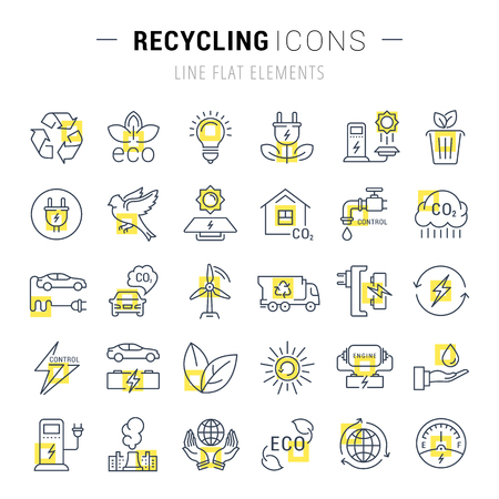 clean energy: Set vector line icons in flat design recycling, eco, bio, clean energy, save water and world with elements for mobile concepts and web apps. Collection modern infographic logo and pictogram. Illustration