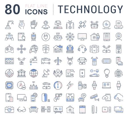 Fije los iconos del vector de línea en la tecnología de diseño plano, coche eléctrico, ciudad inteligente, casa, Internet de las cosas, el pago en línea. Elementos para conceptos móviles. Colección moderna logotipo de infografía y pictograma. Foto de archivo - 68674475