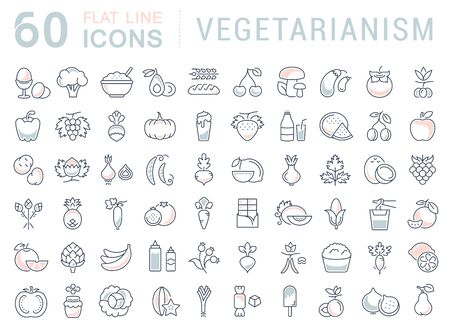 garlic bread: Set vector line icons in flat design Vegetarianism and Vegan with elements for mobile concepts and web apps. Collection modern infographic logo and pictogram.