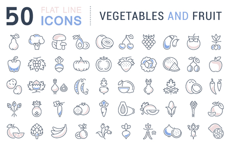veggies: Set vector line icons in flat design Vegetable, Fruit and Healthy food with elements for mobile concepts and web apps. Collection modern infographic logo and pictogram.