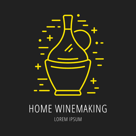 Logo Or Label Wine Making. Line Style Logotype Template With ...
