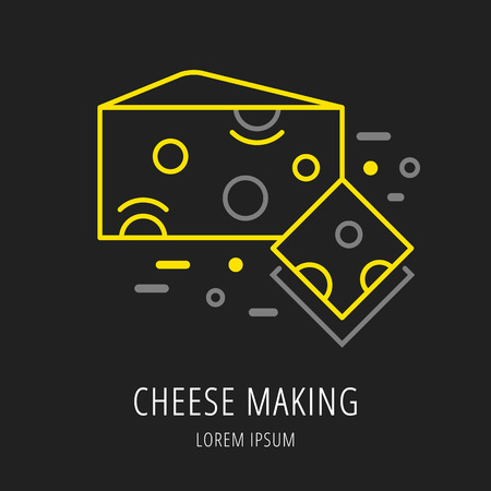 brie: logo or label cheese making. Line style logotype template with cheese. Easy to use business template. Vector abstract logo or emblem.