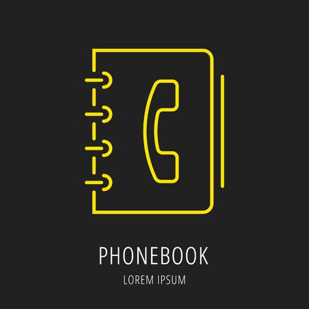 Logo or label phonebook. Line style logotype. Easy to use phonebook template. Vector abstract sign or emblem. Ilustracja