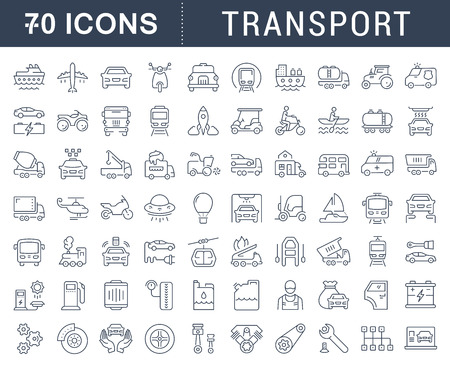 Set vector line icons in flat design transport, mechanics, electronics with elements for mobile concepts and web apps. Collection modern infographic logo and pictogram. Stok Fotoğraf - 68975487