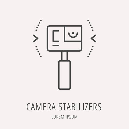 stabilizers: Logo or label camera stabilizers. Line style logotype. Easy to use camera stabilizers template. Vector abstract sign or emblem. Illustration