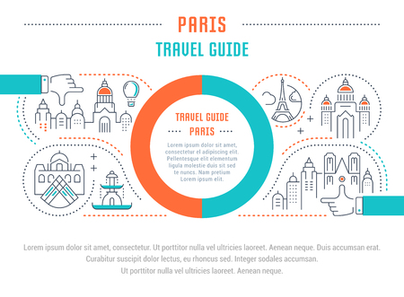 travel guide: Flat line illustration of Paris travel guide. Concept for web banners and printed materials. Template with buttons for website banner and landing page.