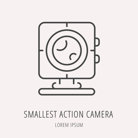 smallest: Logo or label smallest action camera. Line style logotype. Easy to use smallest action camera template. Vector abstract sign or emblem.