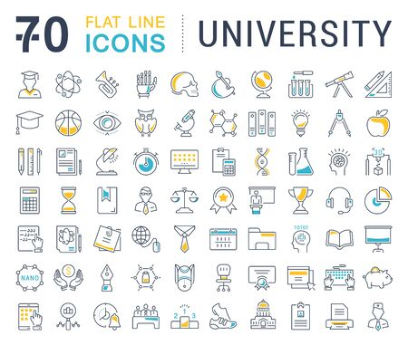 linguistics: Set vector line icons, sign and symbols in flat design university, e-learning and science with elements for mobile concepts and web apps. Collection modern infographic logo and pictogram.