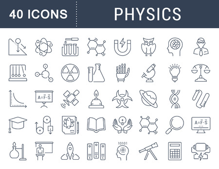 engineering and technology: Set vector line icons, sign and symbols in flat design physic with elements for mobile concepts and web apps. Collection modern infographic logo and pictogram.