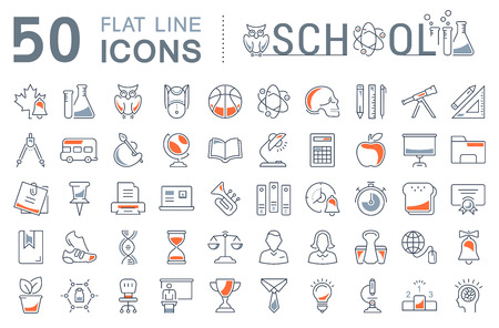 schoolchildren: Set vector line icons, sign and symbols in flat design school with elements for mobile concepts and web apps. Collection modern infographic logo and pictogram.
