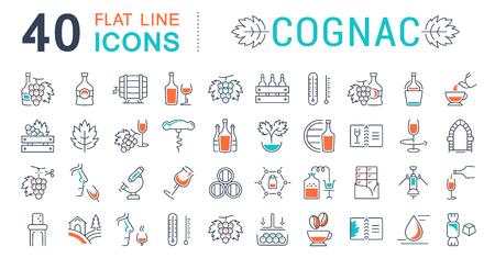 goblet: Set vector line icons, sign and symbols in flat design cognac with elements for mobile concepts and web apps. Collection modern infographic logo and pictogram.
