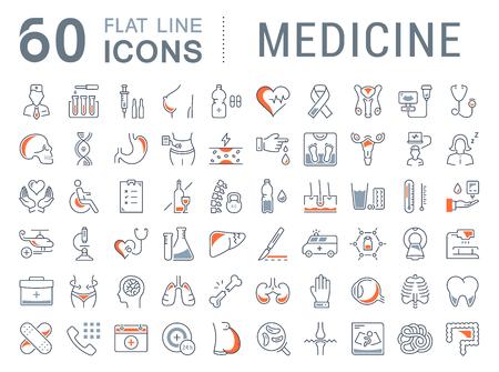Set icônes de la ligne de vecteur, signe en médecine plat de conception, de la pharmacologie, l'oncologie, la numération globulaire, l'éthique médicale avec des éléments de concepts mobiles et web app. Collection logo infographie moderne ou pictogramme.