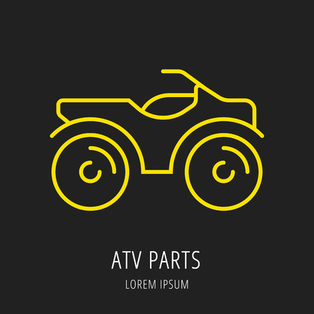 extremesport: logo or label atv. Line style logotype template. Easy to use business template. Vector abstract logo or emblem. Illustration