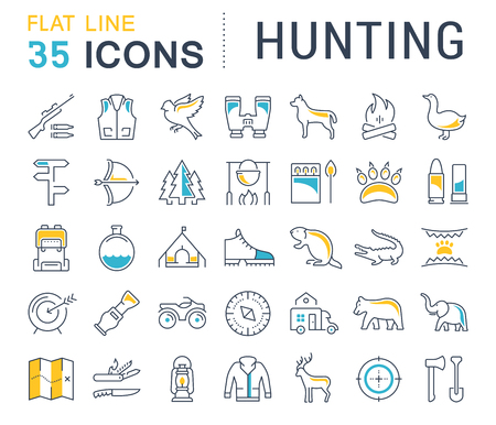 Set of line icons, sign and symbols in flat design hunting with elements for mobile concepts and web apps. Illustration