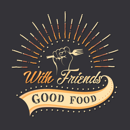 good friends: Set of vintage food typographic quotes. Vector illustration. Vintage food related typographic quotes Illustration