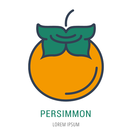 Logo or label persimmon. Line style logotype. Easy to use persimmone template. Vector abstract sign or emblem.