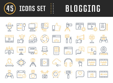 checking accounts: Set vector simple line icons, sign and symbols in design blogging, marketing and business with elements for mobile concepts and web apps. Collection modern infographic logo and pictogram. Illustration