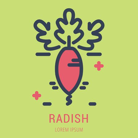 Logo or label radish. Line style logotype. Easy to use radish template. Vector abstract sign or emblem.