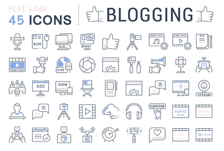 checking accounts: Set vector simple line icons, sign and symbols in flat design blogging, marketing and business with elements for mobile concepts and web apps. Collection modern infographic logo and pictogram.