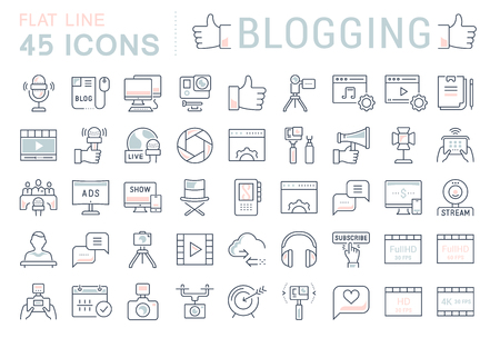 Set vector simple line icons, sign and symbols in flat design blogging, marketing and business with elements for mobile concepts and web apps. Collection modern infographic logo and pictogram.