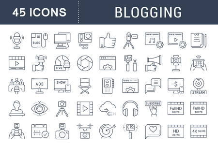 checking account: Set vector simple line icons, sign and symbols in flat design blogging, marketing and business with elements for mobile concepts and web apps. Collection modern infographic logo and pictogram.