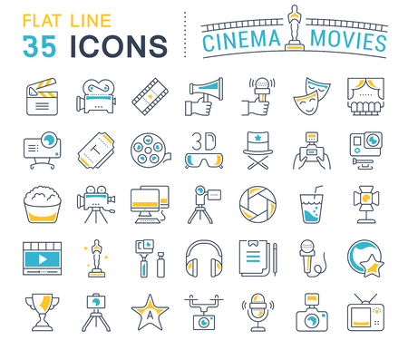 Set vector line icons, sign and symbols in flat design cinema and movies with elements for mobile concepts and web apps. Collection modern infographic logo and pictogram. Vettoriali