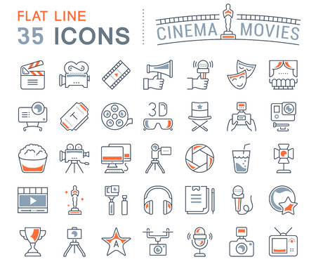 Set vector line icons, sign and symbols in flat design cinema and movies with elements for mobile concepts and web apps. Collection modern infographic logo and pictogram. Çizim