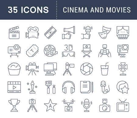 cinema screen: Set vector line icons, sign and symbols in flat design cinema and movies with elements for mobile concepts and web apps. Collection modern infographic logo and pictogram. Illustration