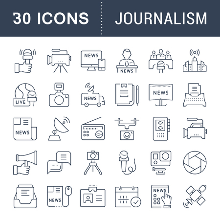 article writing: Set vector line icons, sign and symbols in flat design journalism with elements for mobile concepts and web apps. Collection modern infographic logo and pictogram. Illustration