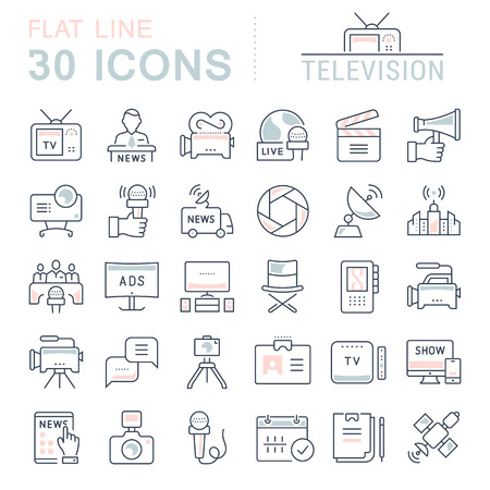 Set vector line icons, sign and symbols in flat design television with elements for mobile concepts and web apps. Collection modern infographic logo and pictogram. 矢量图像