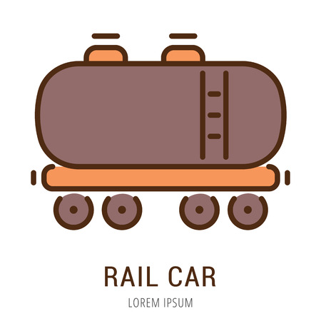 use by label: Logo or label rail car. Line style logotype. Easy to use rail car template. Vector abstract sign or emblem.