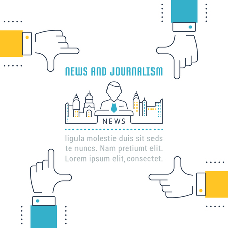 article writing: Flat line illustration of news and journalism. Concept for web banners and printed materials.